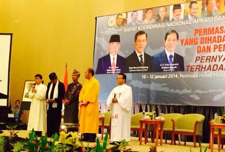 Rakornas APEKSI dan APKASI, para tokoh lintas agama berdo'a bersama