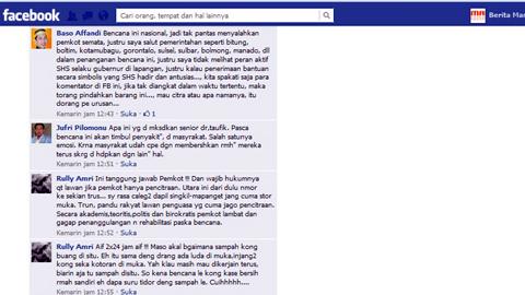 Komentar di jejariang sosial soal peran Sarundajang pasca bencana Manado (foto beritamanado)