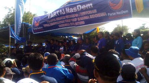 Kampanye Partai Nasdem di lapangan Inkoasku Kota Bitung (foto ist)
