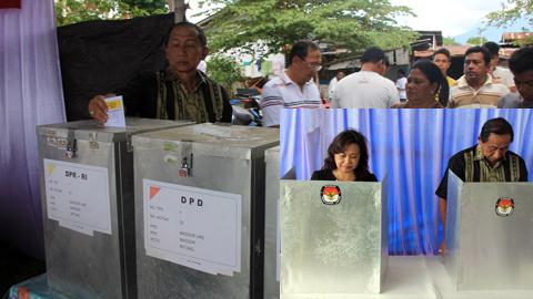 Sondakh bersama istri ketika memberikan hak suara (foto ist)