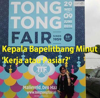Kepala Bapelitbang Minut, Hanny Tambani ekspose Tong Tong Fair 2014 (foto fb)