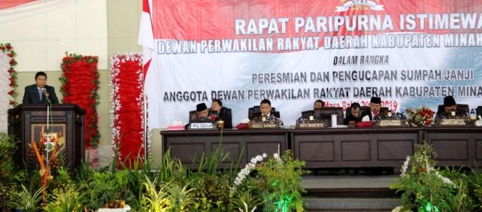 james sumendap sambutan pada pelantikan DPRD Mitra yang baru
