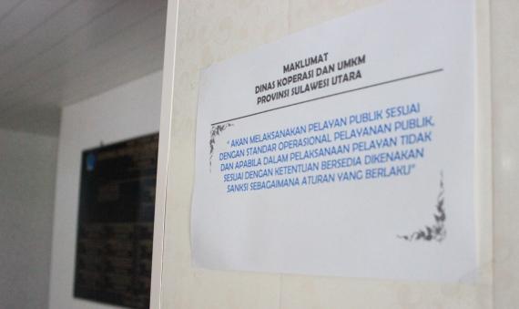 Komitem kerja Dinas Koperasi-UMKM Sulut yang terpampang di ruang tamu instansi tersebut. (foto: ady/bmc)
