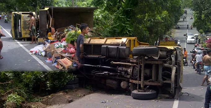 Truk sampah milik Pemkot yang mengalami kecelakaan (foto ist)