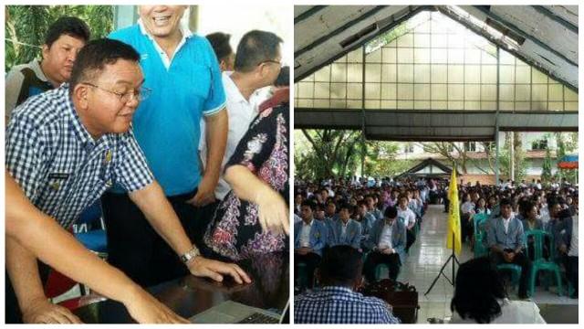 Penarikan mahasiswa KKT Unsrat yang dilaksanakan di Aula Kantor Bupati, Sabtu (23/4/2016).Wabup Minut Ir Joppi Lengkong melaunching simda Pemkab Minut