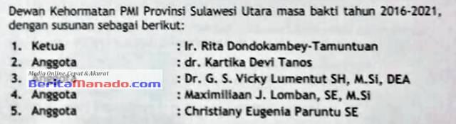 Susunan Dewan Kehormatan PMI Sulut Periode 2016-2021