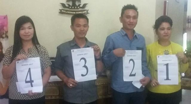 Jemmy Mongkol (nomor urut 3) bersama calon Hukum Tua Desa Walantakan lainnya