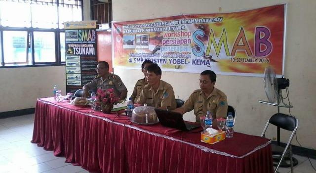 Workshop persiapan aman bencana bersama BNPB, BPBD dan Dikpora Minut.
