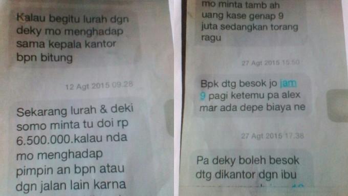 Bukti SMS permintaan uang dari staf BPN Kota Bitung