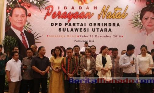 Natal Gerindra Sulut, VONNIE PANAMBUNAN: Kader Harus Melayani Dengan Tulus