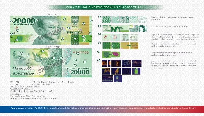 Uang pecahan Rp 20.000 Sam Ratulangi