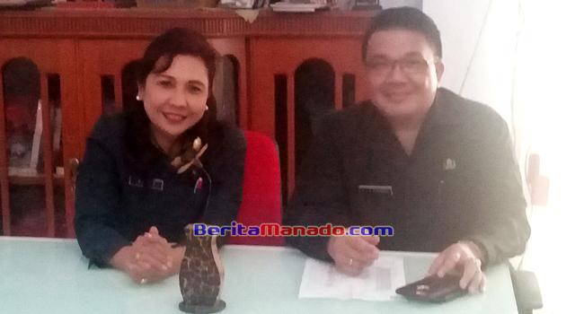 Agustivo Tumundo dan Debby Bukara di sela-sela acara pisah sambut