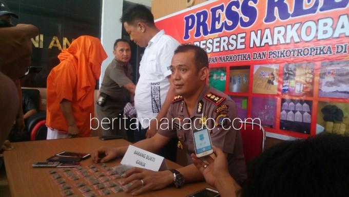 Kapolres ketika menggelar konfrensi pers terkait penangkapan pengedar Narkoba