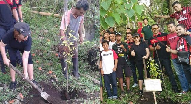 Milanisti Minut bersama Dinas Pariwisata Minut serta sejumlah komunitas, menanam pohon di Kaki Dian.