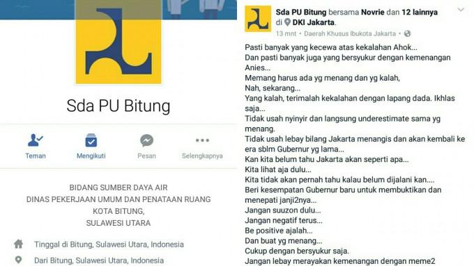 Account facebook Sda PU Bitung tentang Pilkada DKI Jakarta