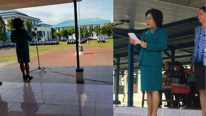 Rita ketika memimpin upcara bendera Hari Kartini