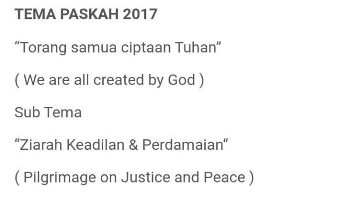 Tema dan Sub Tema Paskah 2017