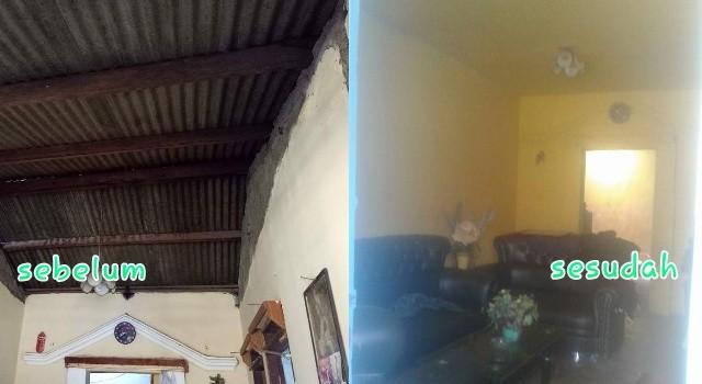 Kondisi rumah warga, sebelum dan sesudah dibedah.(foto: Golkar Minut)