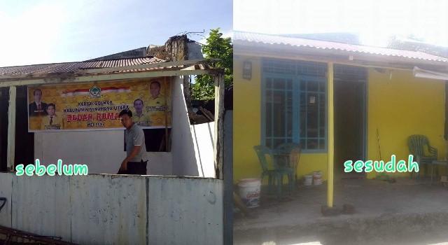 Bedah rumah Partai Golkar.(foto: Golkar Minut)