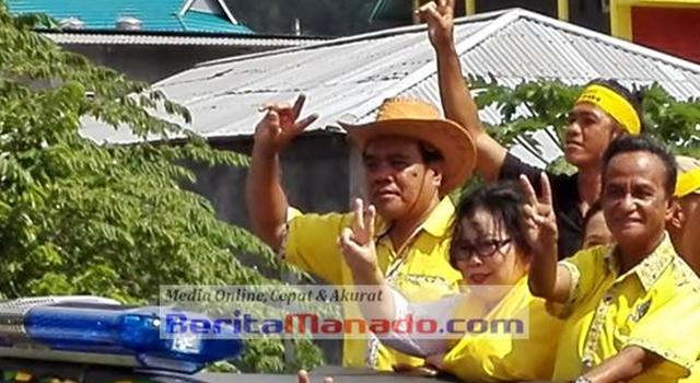 abes Gaghana dan Helmud Hontong saat kampanye Plkada Sangihe lalu