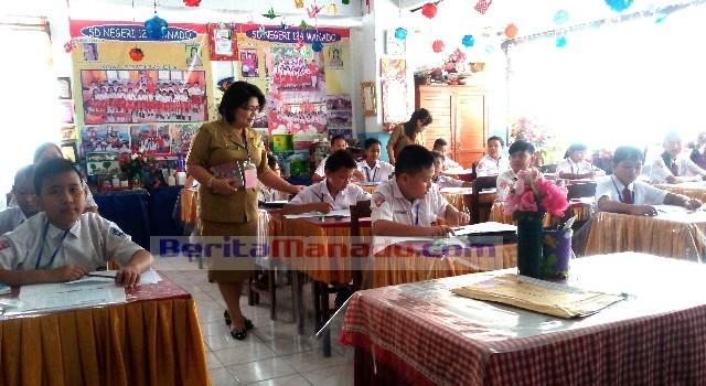 Pelaksanaan ujian di SD Negeri 124 Sarapung, Manado