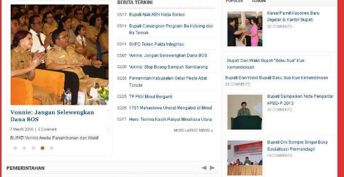 Website Pemkab MINUT Februari 2016