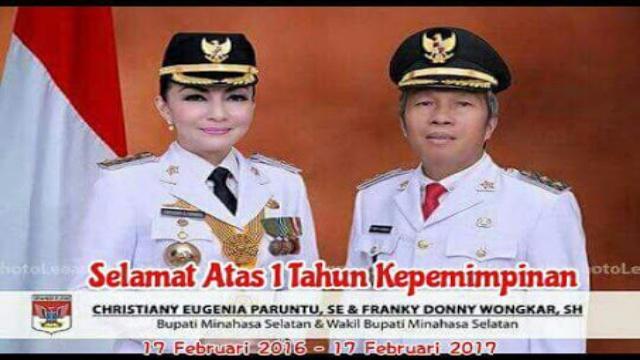 Bupati Minsel Christiany Eugenia Paruntu, SE dan Wabup Minsel Franky Donny Wongkar, SH