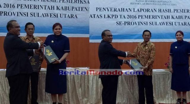 Bupati Minut Vonnie Panambunan didampingi Ketua DPRD Minut Berty Kapojos menerima hasil pemeriksaan keuangan dari auditor BPK RI.