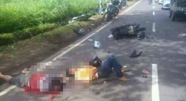 Tabrakan beruntun di Desa Kaasar Kecamatan Kauditan, menyebabkan satu orang tewas.(foto: Satlantas Polres Minut)