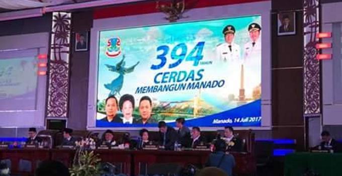 Rapat paripurna istimewa dipimpin Ketua DPRD Manado, Noortje Van Bone