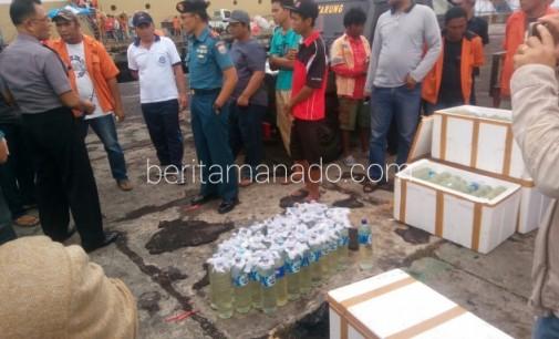 Korps Marinir Bitung Gagalkan Pengiriman Ratusan Botol Cap Tikus ke Papua