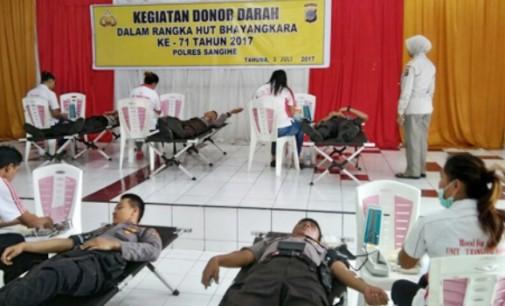 Peduli Sesama, Polres Sangihe Adakan Donor Darah