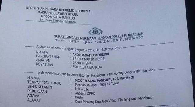 Laporan Polisi Dicky Risano Masengi di Polresta Manado