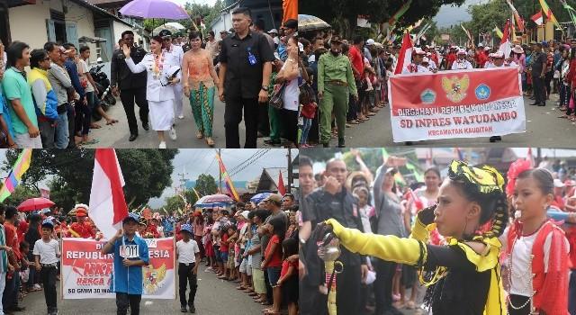 Gerak jalan dan pawai diselenggarakan di setiap kecamatan se-Minahasa Utara.(foto: Humas Pemkab Minut)