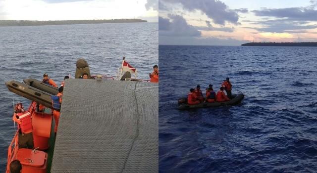 Pencarian hari keempat korban musibah kapal tenggelam KM Baku Sayang 03.(foto: Basarnas Manado)