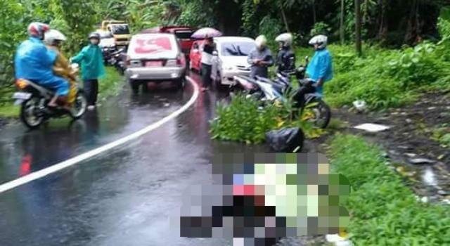 Kecelakaan maut di Desa Tanggari.(foto: Sat Lantas Polres Minut)