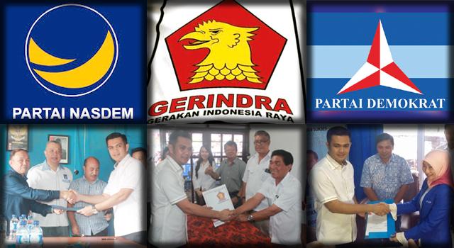 James Arthur Kojongian saat mendaftar di Partai NasDem, Gerindra dan Demokrat