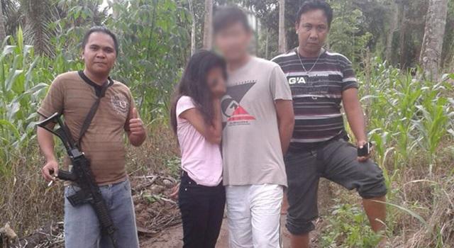 Anggota Polse Langwoan saat mengamankan tersangka dan korban