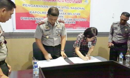 Amankan Objek Vital, Bank Sulutgo MoU dengan Polres Minsel