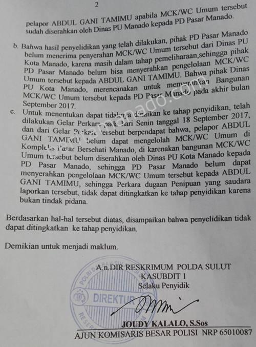 Surat Pemberitahuan Perkembangan Hasil Penyelidikan (SP2HP) yang dikeluarkan Direktorat Reserse Kriminal Umum (Dit Reskrimum) dengan nomor Polisi: B/613/IX/2017/Dit Reskrimum