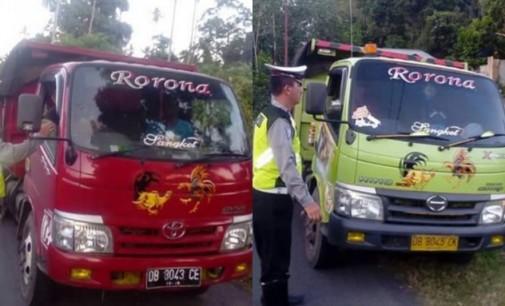 Bahayakan Pengguna Jalan, Polres Bitung Tindak Truck Pengangkut Pasir