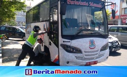 Parkir di Pinggir Jalan, Bus Pariwisata Pemkot Manado Terjaring Operasi Zebra