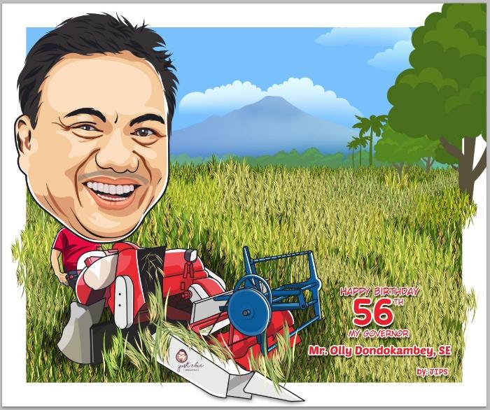 Karikatur Olly Dondokambey saat panen padi