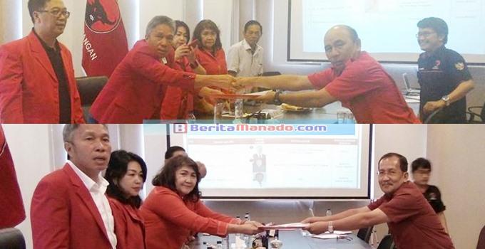 Semuel Montolalu dan Welly Munaiseche mendaftar sebagai bacabup Mitra dari PDIP