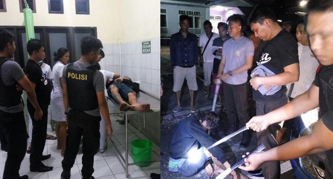Pelaku dirawat di rumah sakit dengan penjagaan petugas (kiri). Petugas polisi menangkap pelaku doger bersama barang bukti berupa pisau dan pipa besi (kanan).(foto: Polres Minut)
