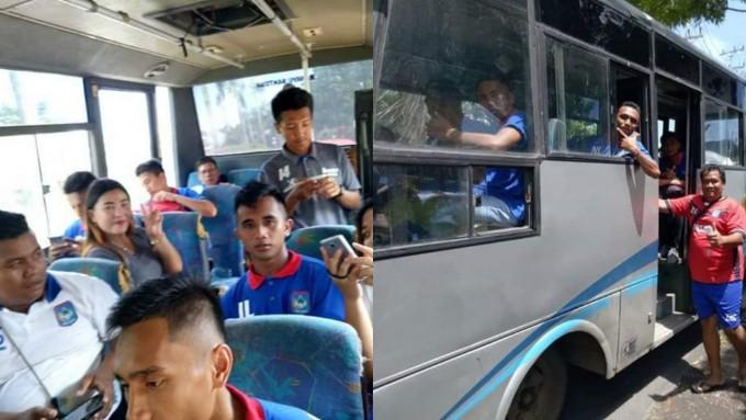 Persbit saat menuju Bandara Sam Ratulangi Manado kemudian terbang ke Kendal mengikuti Liga 3 Indonesia