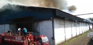 Tiga Jam Sudah Api Menyala di Gudang PT MNS dan Belum Padam