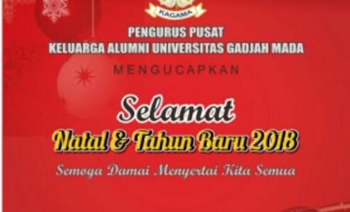 TAUFIK TUMBELAKA: Ucapan Natal Alumni Berseliweran Bukti UGM Universitas Kebangsaan