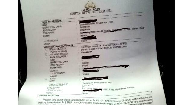 Laporan polisi yang dibuat istri pelaku