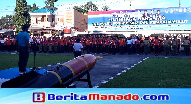 Apel pembukaan Olahraga Bersama TNI, Polri dan Forkopimda Provinsi Sulut dipimpin Pangdam XIII/Merdeka, Mayjen TNI Ganip Warsito